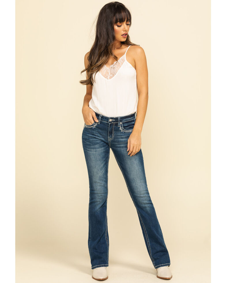 """Grace in LA Women's Medium Paisley 32"""" Bootcut Jeans, Blue, hi-res"""