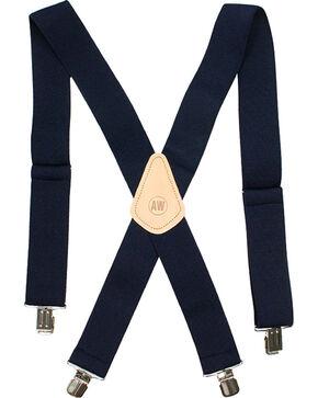 American Worker Men's Elastic Suspenders, Navy, hi-res