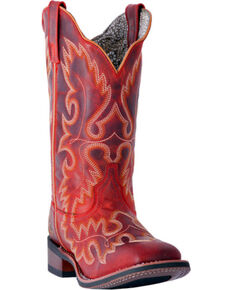 Laredo Women's Eva Vintage Red Stockman Boots - Square Toe, Red, hi-res