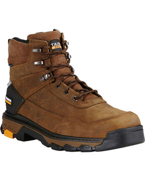 "Ariat Men's Intrepid 6"" Waterproof Work Boots - Composite Toe, Brown, hi-res"