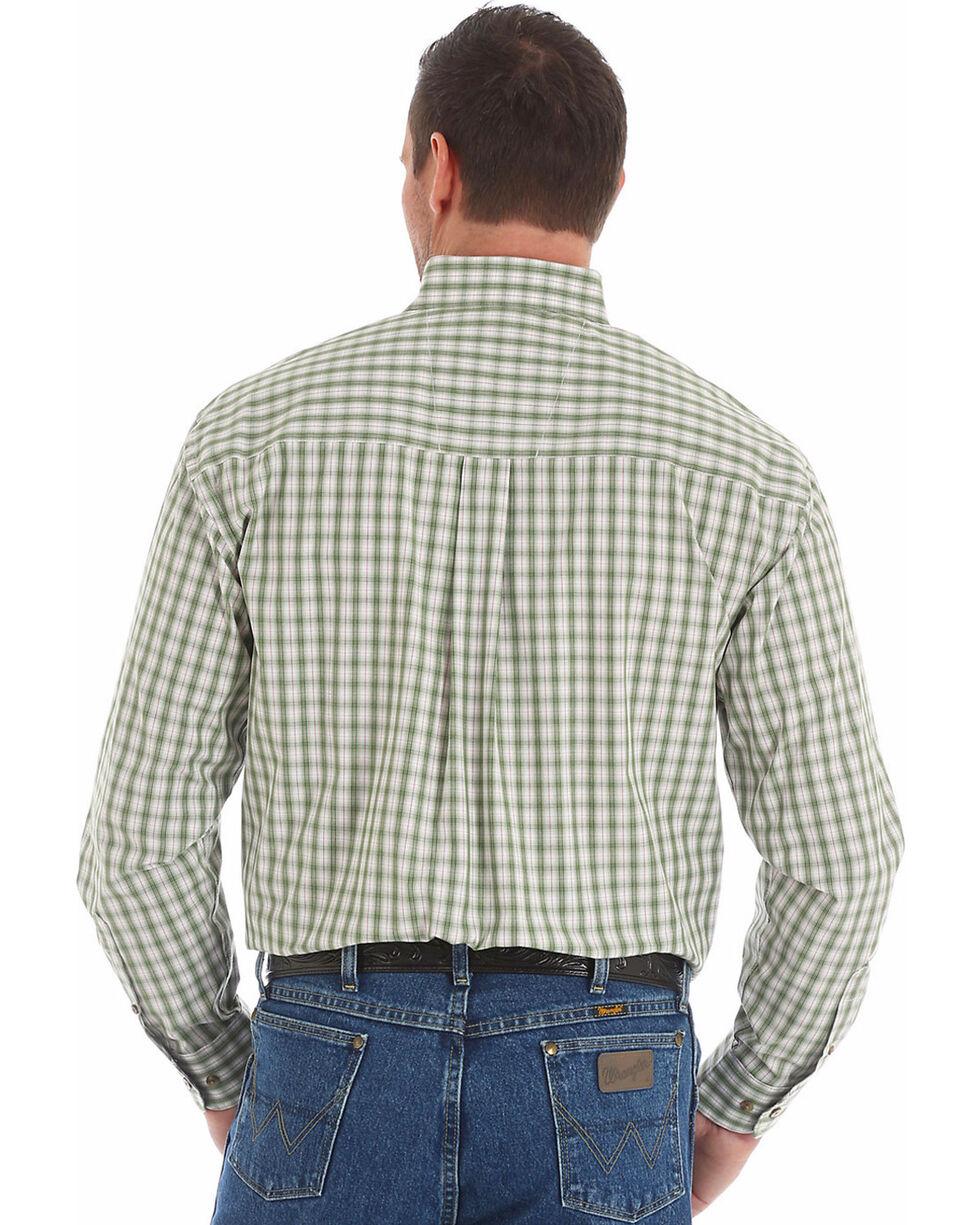 Wrangler George Strait Men's Olive Two Pocket Plaid Shirt , Olive, hi-res