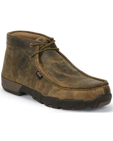 Justin Men's Cappie Dark Brown Electrical Hazard Driving Mocs - Steel Toe, Brown, hi-res