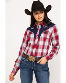 Roper Women's Star Yoke Plaid Long Sleeve Western Shirt, Red, hi-res