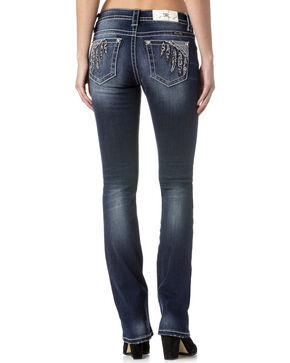 Miss Me Women's Indigo Feather Pocket Slim Fit Jeans - Boot Cut , Indigo, hi-res