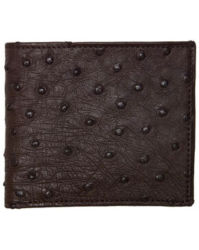 Lucchese Men's Sienna Ostrich Hipster Wallet , Brown, hi-res