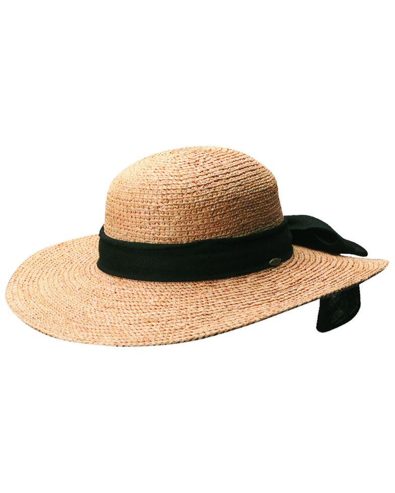 Scala Women's Tea Organic Raffia with Black Bow Sun Hat, Tea, hi-res