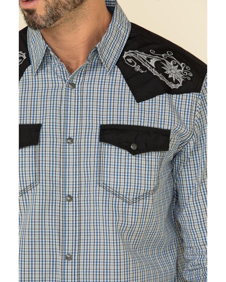 Moonshine Spirit Men's World Tour Small Plaid Long Sleeve Western Shirt , Grey, hi-res