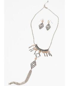 Shyanne Women's Hidden Treasure Filigree Tassel Layered Choker Necklace Set, Silver, hi-res