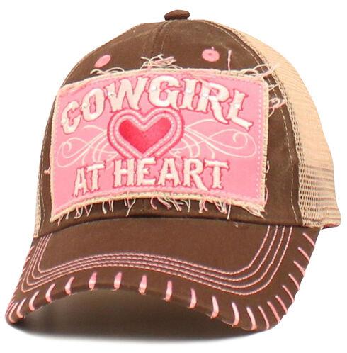 "Blazin Roxx Girls' ""Cowgirl at Heart"" Cap, Brown, hi-res"