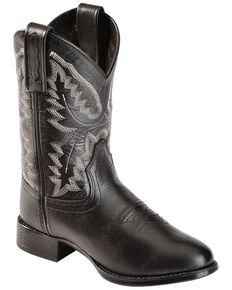 Old West Boys' Ultra Flex Black Cowboy Boots, Black, hi-res