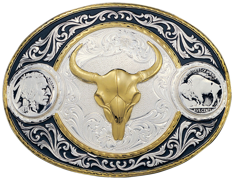 Montana Silversmiths Buffalo Nickel & Skull Western Belt Buckle, Multi, hi-res
