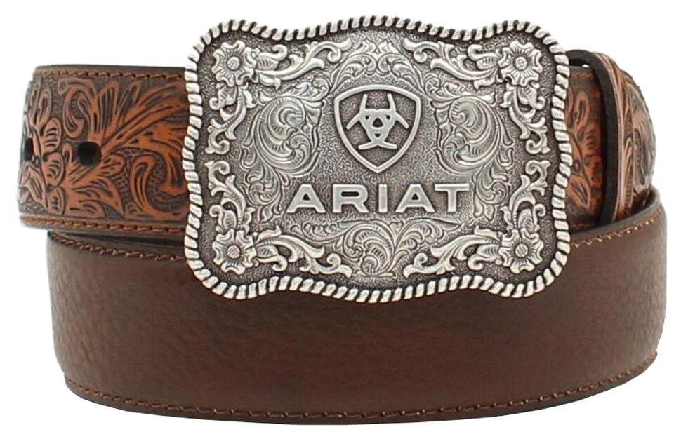 Ariat Boys' Distressed Hand Tooled Belt, Brown, hi-res