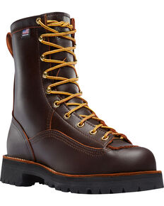 "Danner Men's Brown Rain Forest 8"" Work Boots - Round Toe , Brown, hi-res"