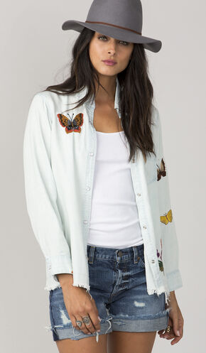MM Vintage Women's Light Blue Embroidered Butterfly Shirt, Light Blue, hi-res