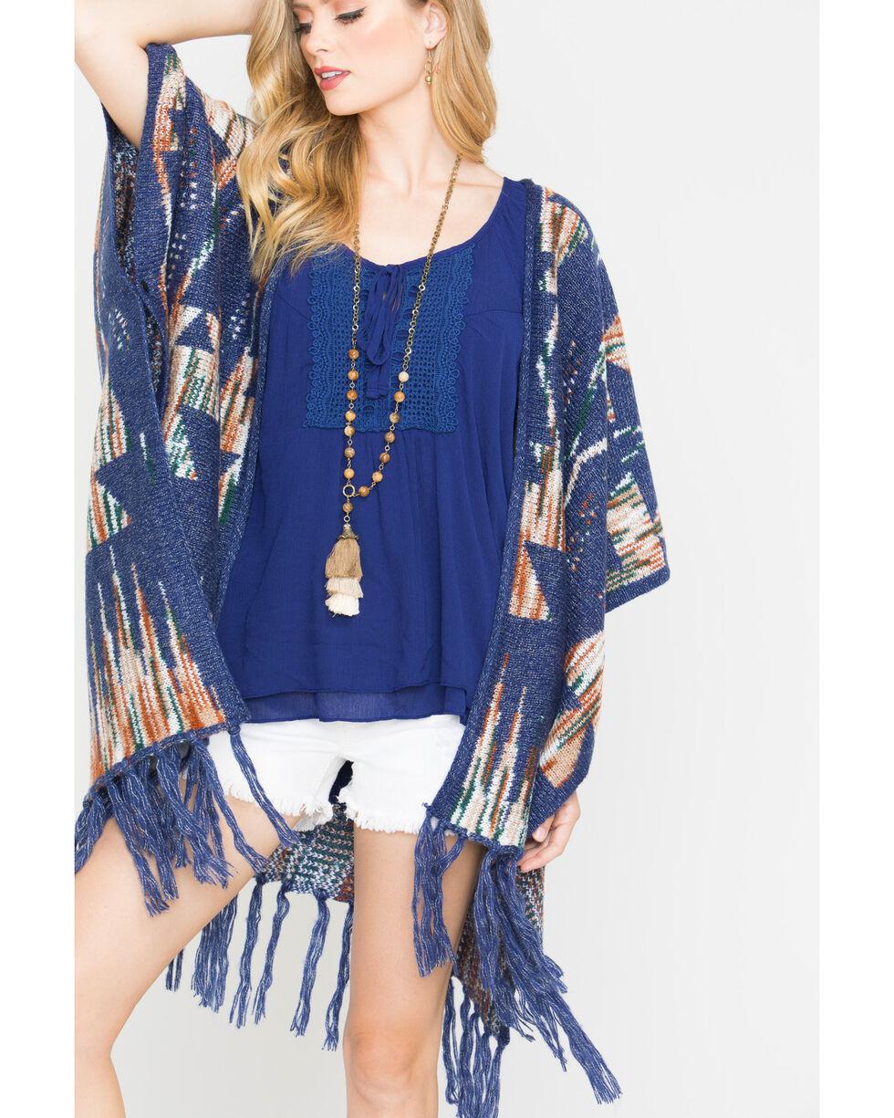 Shyanne Women's Dakota Knit Poncho, Blue, hi-res