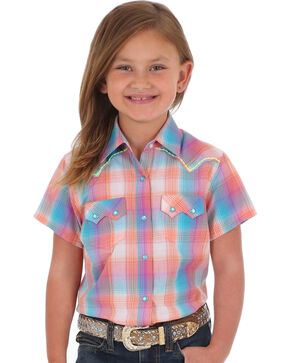 Wrangler Girls' Coral Sawtooth Pocket Short Sleeve Shirt , Coral, hi-res