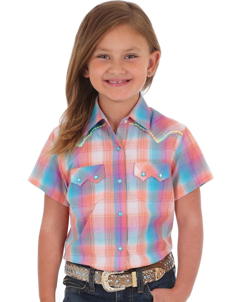 Wrangler Girls' Coral Sawtooth Pocket Short Sleeve Shirt , Coral, hi-res