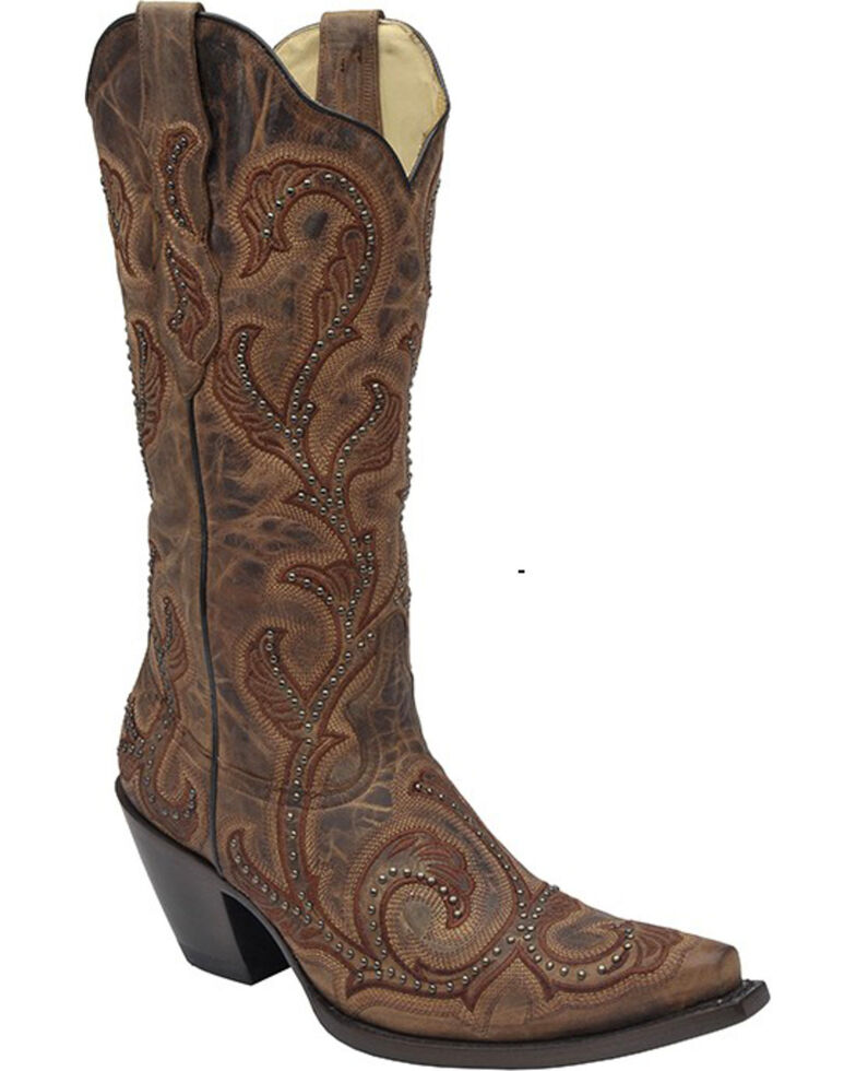 Corral Women's Studded Embroidered Cowgirl Boots - Snip Toe, , hi-res