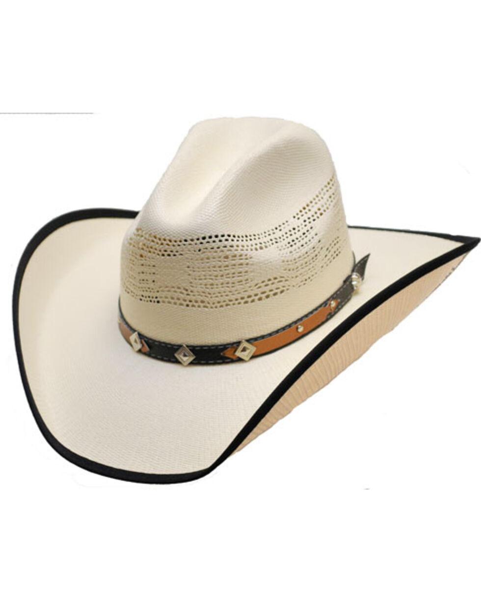 Western Express Men's White Bound Edge Straw Hat , , hi-res