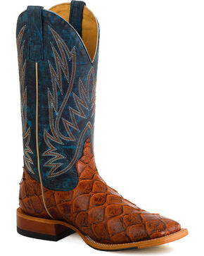 Horse Power Men's Cognac Filet of Fish Western Boots , Cognac, hi-res