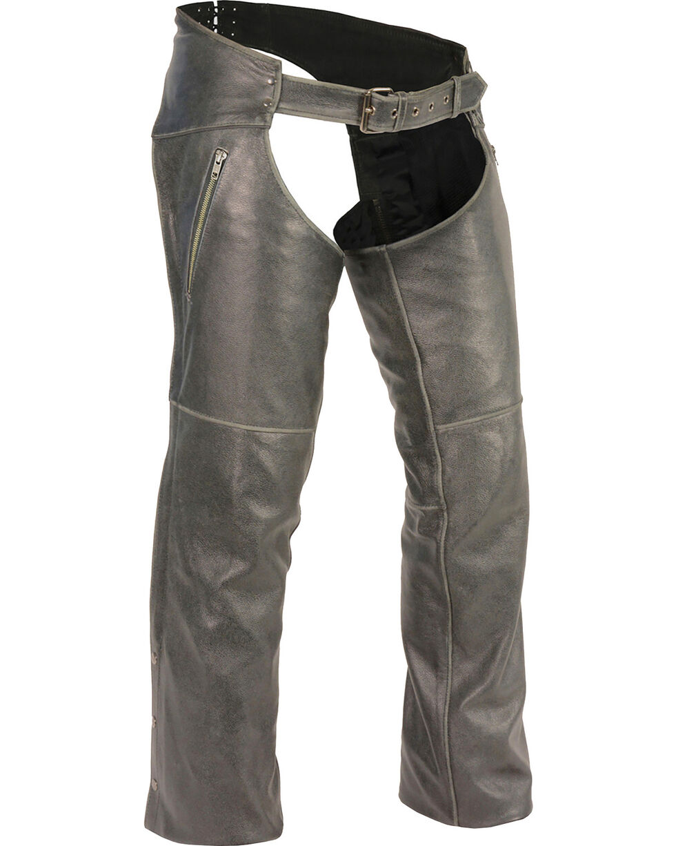 Milwaukee Leather Men's Grey Deep Thigh Vintage Chaps , Grey, hi-res
