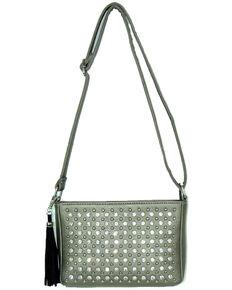 Savana Women's Professional Carry Embellished Crossbody Purse , Pewter, hi-res