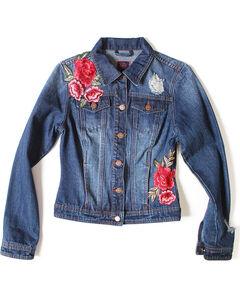 Boom Boom Jeans Women's Stone Wash Floral Rose Applique Denim Jacket, Dark Blue, hi-res