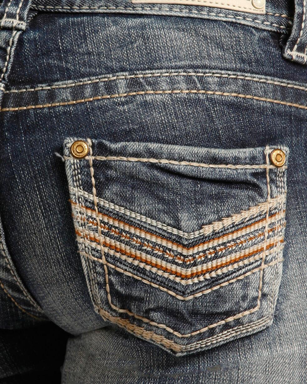 "Rock & Roll Cowgirl Girls' (7-14) Stitch ""V"" Jeans - Boot Cut  , Indigo, hi-res"