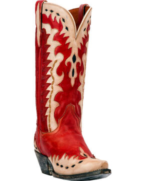 Dan Post Women's Rustic Red Mae Wingtip Cowgirl Boots - Snip Toe, Red, hi-res