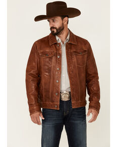 Scully Men's Tan Leather Button-Front Trucker Jacket , Tan, hi-res