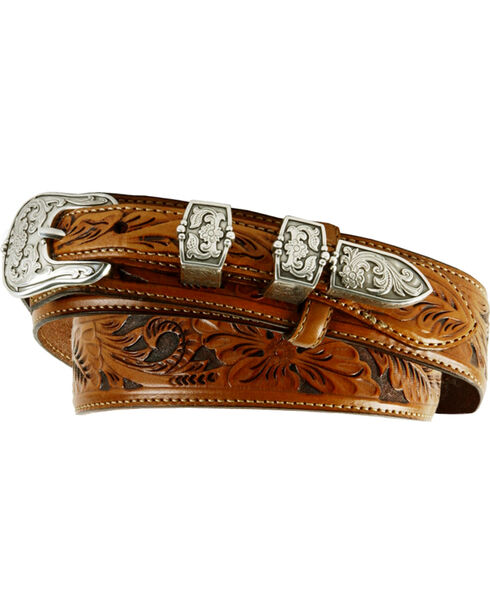Tony Lama Tooled Leather Ranger Belt, Brown, hi-res