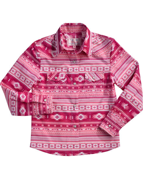 Cowgirl Hardware Girls' Aztec Print Snap Shirt, Pink, hi-res