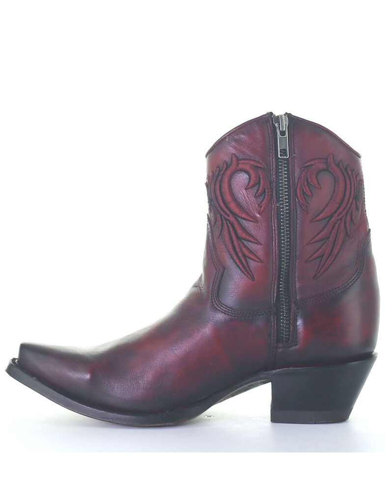 Corral Women's Embroidery & Studs Fashion Booties - Snip Toe, Red, hi-res