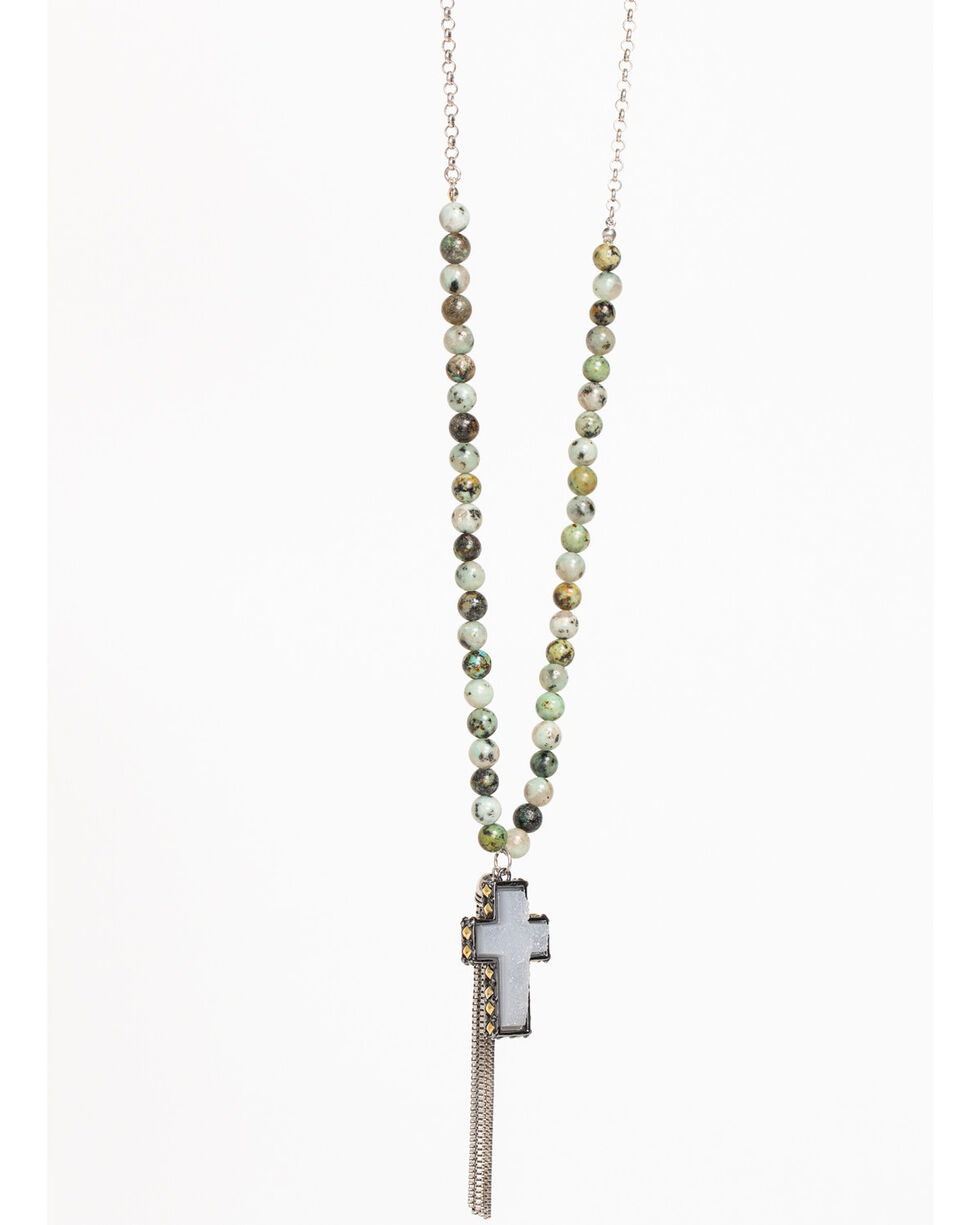 Shyanne Women's Jade Sea Beaded Tassel Necklace, Silver, hi-res
