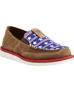 Ariat Girls' Stars and Stripes Cruiser Shoes , Tan, hi-res