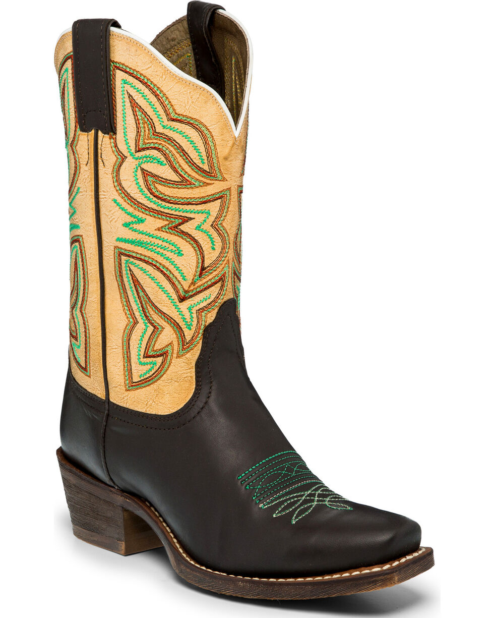 Nocona Women's Leather Chocolate Golden Tan Cowgirl Boots - Square Toe, , hi-res