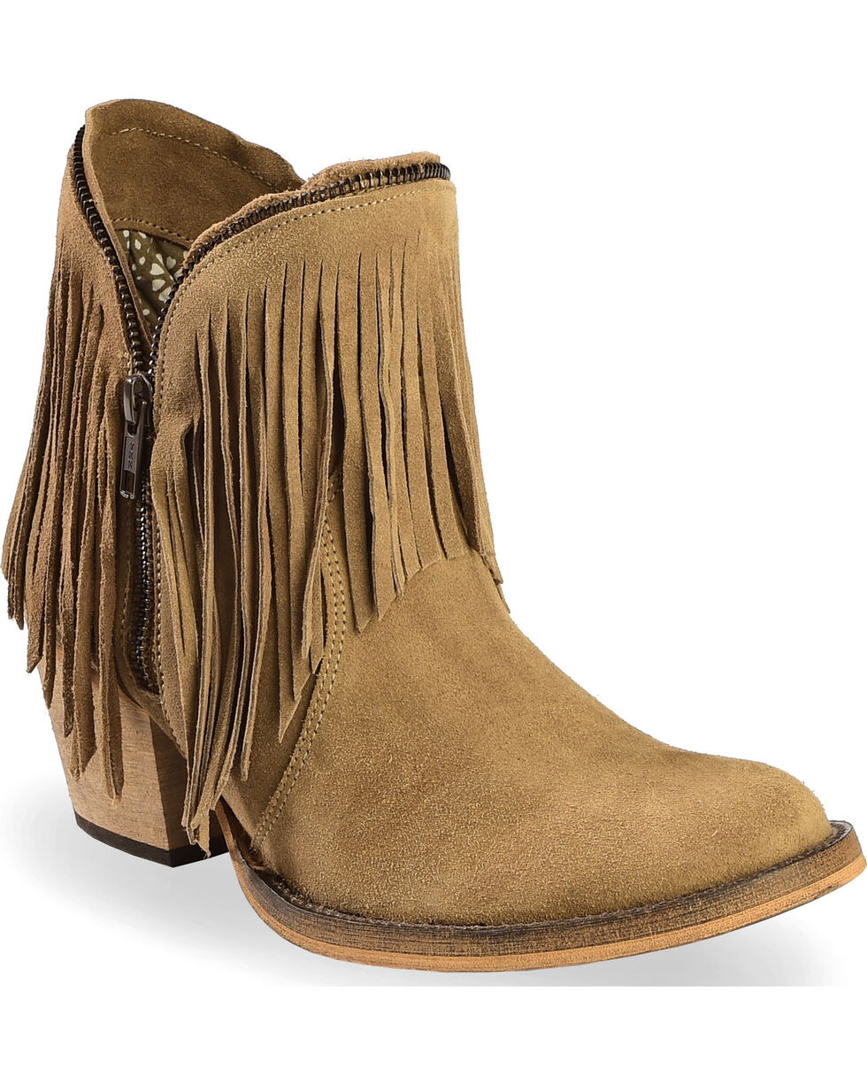 Dingo Women's JuJu Fringe Zipper Top Booties - Round Toe , Brown, hi-res