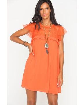 Polagram Women's Orange Lace Ruffle Sleeve Dress, , hi-res