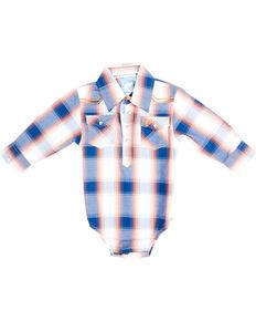 Cowboy Hardware Infant Boys' Orange & Blue Plaid Embroidered Long Sleeve Snap Western Onesie , Orange, hi-res