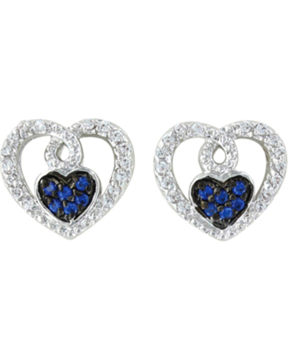 Montana Silversmiths Curlicued Cerulean Heart Earrings, Silver, hi-res