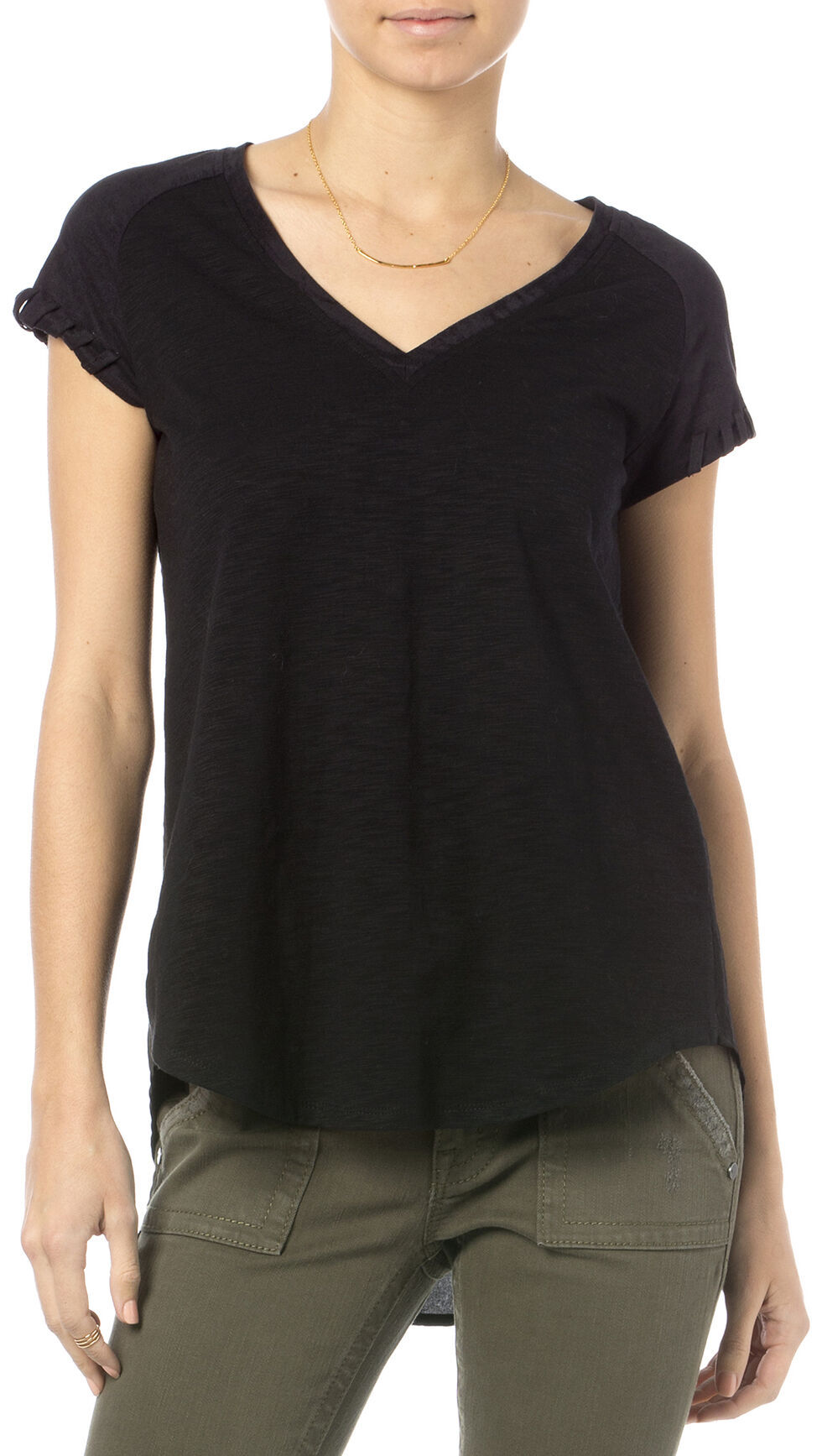 Miss Me Black Suede Raglan Sleeve V-Neck Top , Black, hi-res