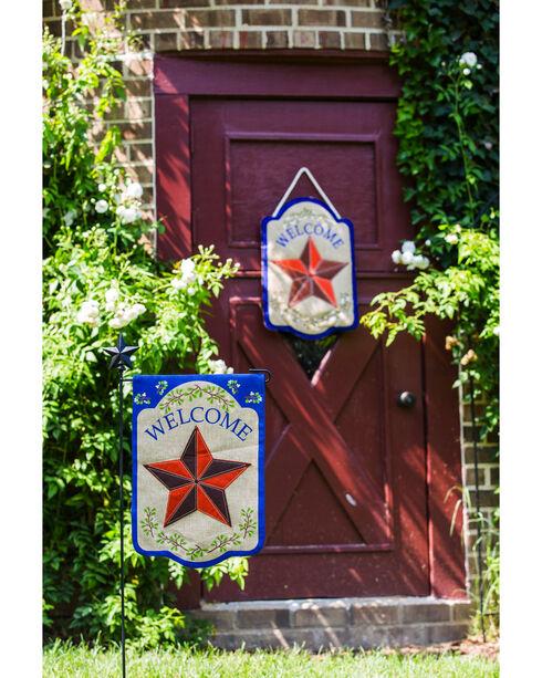 Evergreen Country Star Burlap Door Hanger , Brown, hi-res
