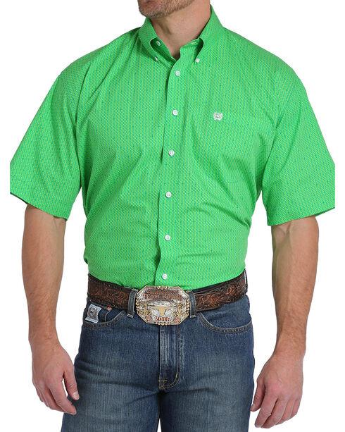Cinch Men's Green Money Symbol Print Western Shirt , Green, hi-res