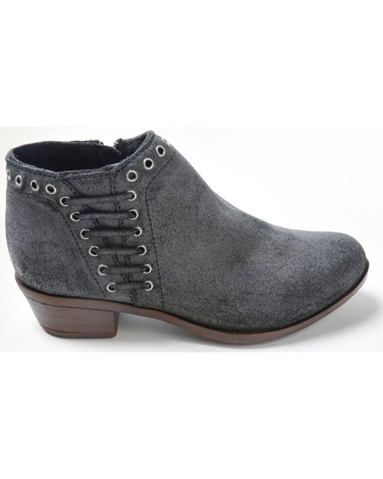 Minnetonka Women's Brenna Side Lace Booties - Round Toe, Charcoal, hi-res