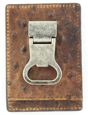 Nocona Ostrich Print Money Clip Wallet, Brown, hi-res