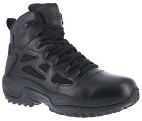 "Reebok Men's Stealth 6"" Lace-Up Waterproof Side Zip Work Boots - Round Toe, Black, hi-res"