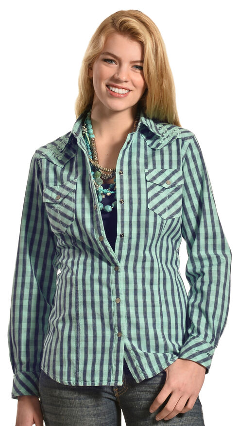 Ryan Michael Women's Embroidered Yoke Plaid Shirt, Aqua, hi-res