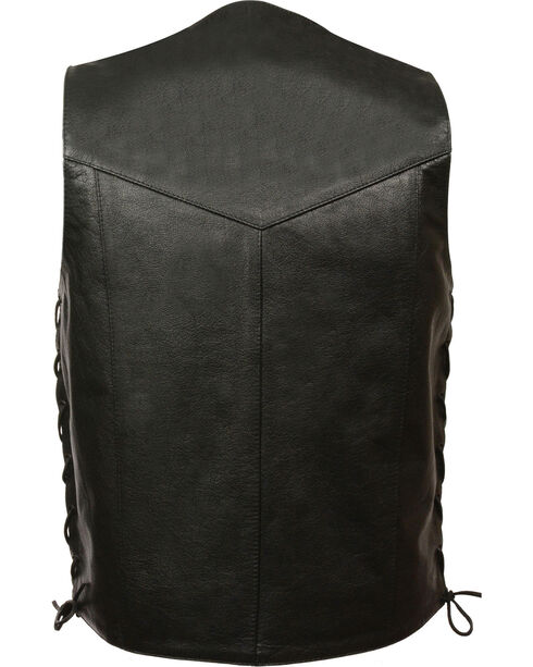 Milwaukee Leather Men's Classic Side Lace Vest w/ Gun Pockets - Big, Black, hi-res