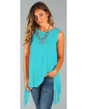 Wrangler Rock 47® Women's Turquoise Sleeveless Fringe Top  , Turquoise, hi-res