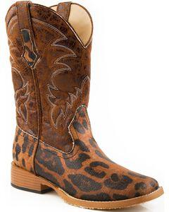 Roper Leopard Print Cowgirl Boots - Square Toe, Gold, hi-res